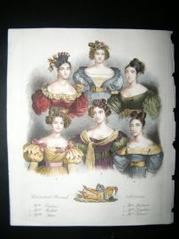 French Theatre Actresses, Julia, Alexis, Montessu 1833 Hand Col Portrait Print